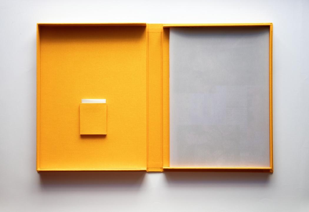 Interno del cofanetto. A sinistra: tasca cm 7,5 x 9. A destra: foglio cm 28 x 40. Carta Evanescent Silk Dorata Malva 200 gr.