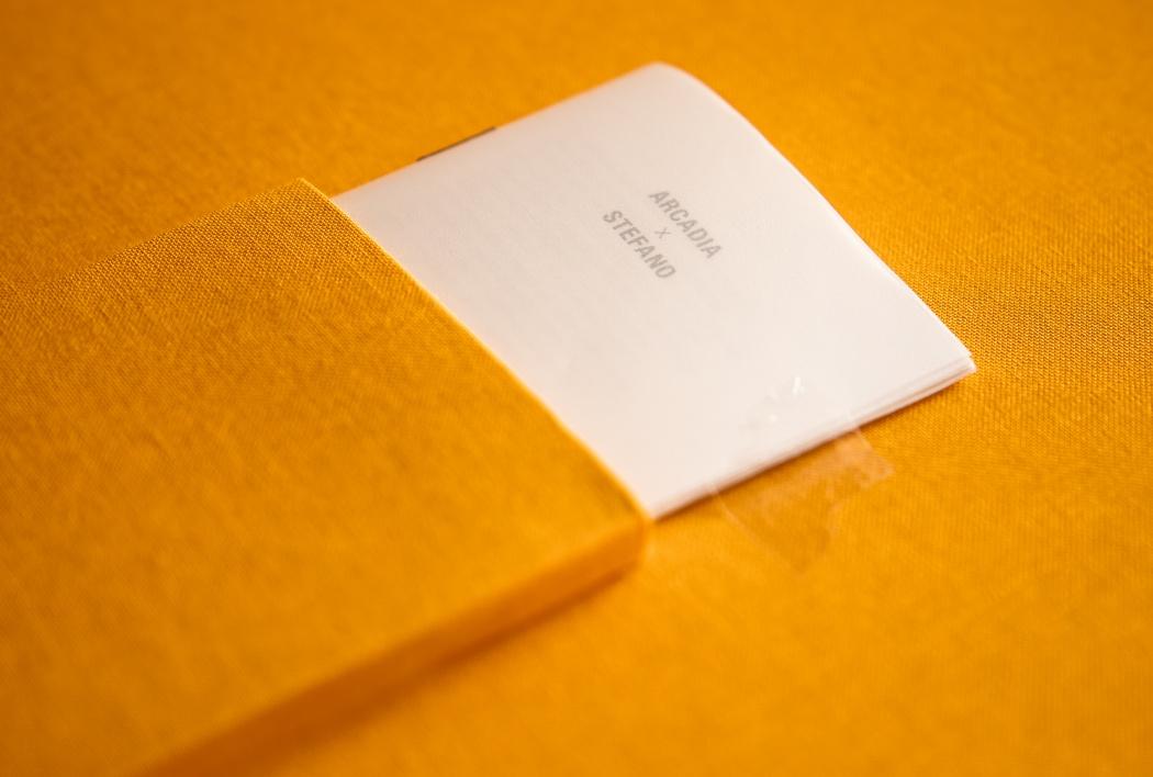Libretto Arcadia X Stefano (Il Manifesto di Arcadia) cm 7 x 10.  Copertina del libretto: carta Pile Pearl White 111 gr trasparente.  Rilegatura con punto metallico.