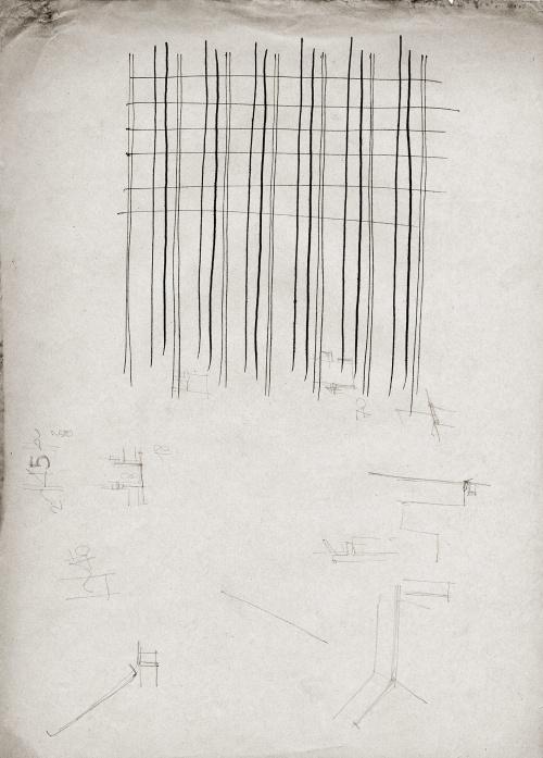 """Schizzo originale di Vico Magistretti. Punto di partenza del progetto """"Facecity"""" (scroll)"""